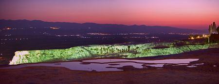 phenomena: panoramic vew of night pamukkale, Pamukkale, Denizli, Turkey