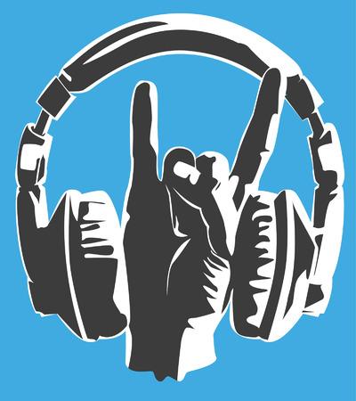 metal music headset fans Illusztráció
