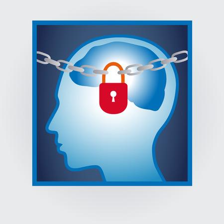 locked: head profile with locked mind, autism concept