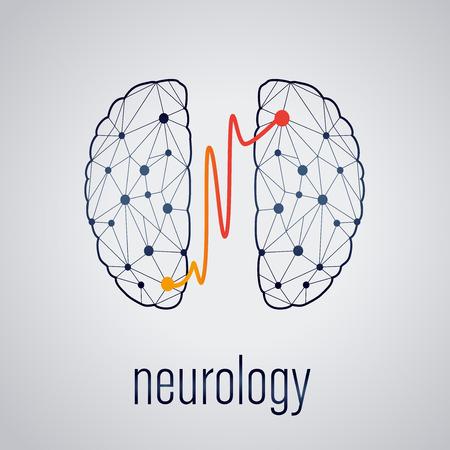 neurologie concept, twee gekoppelde delen van de hersenen Stock Illustratie