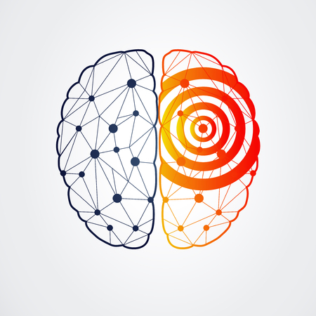 Human brain with epilepsy activity in one side, vector illustration