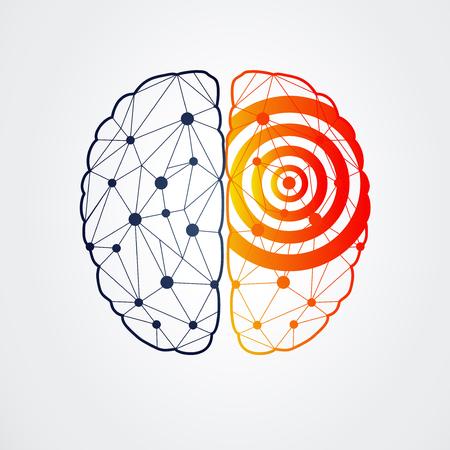 cerebro humano: El cerebro humano con la actividad de la epilepsia en un lado, ilustración vectorial Vectores