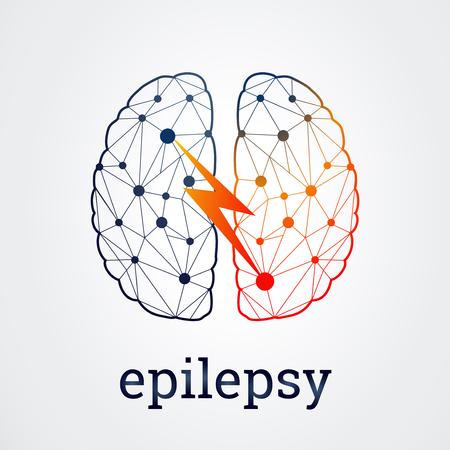 Ludzki mózg z aktywnością padaczki po jednej stronie, ilustracji wektorowych