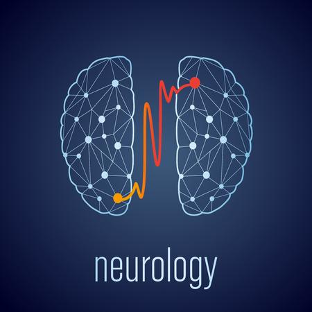 Abstracte creatieve neurologie concept met twee gekoppelde delen van het menselijk brein Stock Illustratie