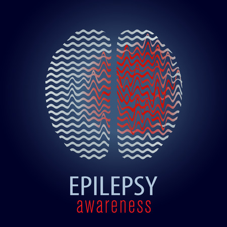 Human brain with epilepsy activity, epilepsy awareness, vector illustration Иллюстрация