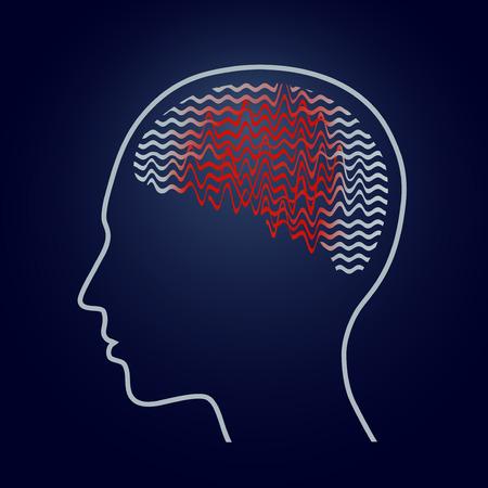 Human brain with epilepsy activity, epilepsy awareness, vector illustration Vettoriali