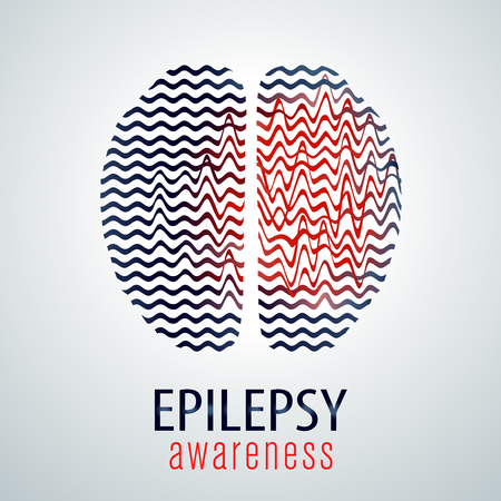 Human brain with epilepsy activity, epilepsy awareness, vector illustration Vettoriali