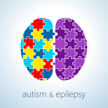 epilepsy: Vector illustration of autism and epilepsy connection concept , autism awareness day