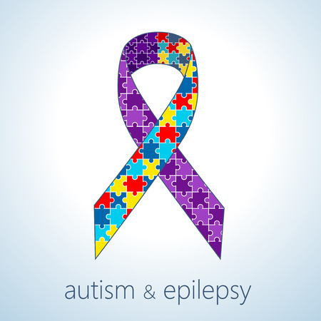 epilepsy: Vector illustration of autism and epilepsy connection concept, awareness ribbon