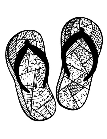 Hand Drawn Flip Flops At The Summer Beach For Coloring Book Royalty ...