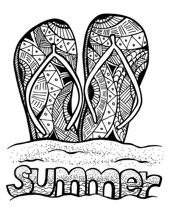 flops: Hand drawn flip flops at the summer beach for coloring book