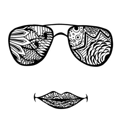 occhiali da sole di modo disegnato a mano della donna per libro da colorare