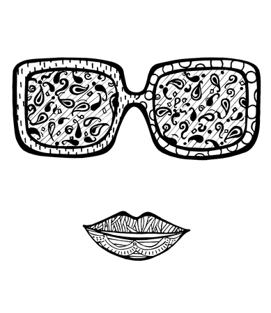 coloring lips: Hand drawn womans fashion sun glasses for coloring book