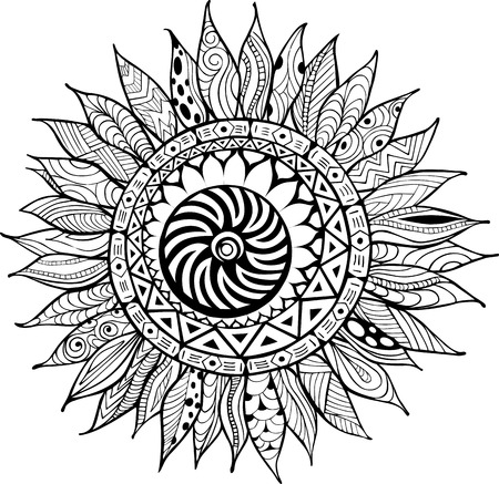 Hand drawn sunflower ornaments for antistress coloring book