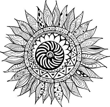 Handgezogene Sonnenblumenverzierungen für Antistress Färbung Buch Standard-Bild - 56476920