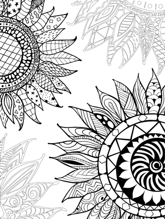 anti season: Hand drawn sunflower ornaments for antistress coloring book