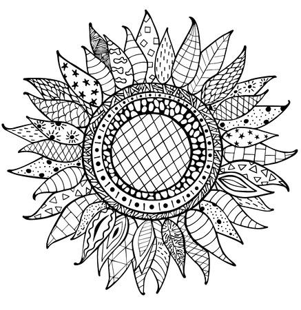 Dibujados A Mano Adornos De Girasol Para Colorear Antiestrés ...