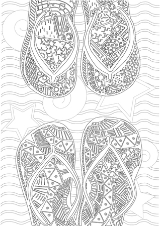 palmtrees: Hand drawn of flip flops at the beach for coloring book
