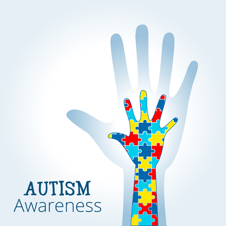 Autism awareness concept with hand of puzzle pieces as symbol of autism. Иллюстрация