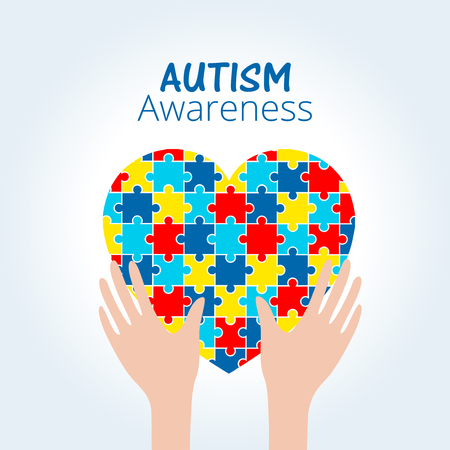 Autism awareness concept with heart of puzzle pieces as symbol of autism. Illustration