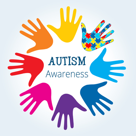 Autism awareness concept with hand of puzzle pieces as symbol of autism. Illustration
