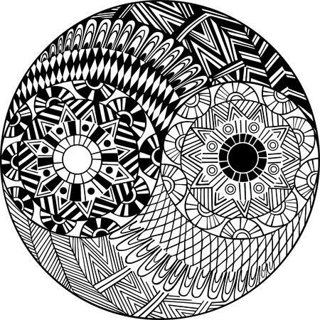 Yin and yang decorative hand drawn symbol for coloring book