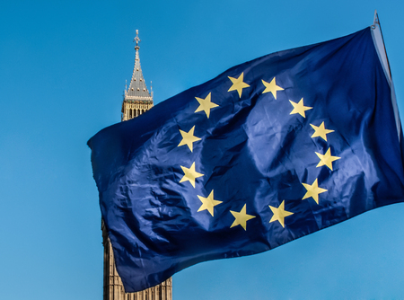 bigben: European Union flag in front of Big Ben, Brexit EU