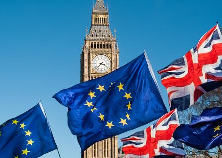 빅 벤, Brexit EU 앞의 유럽 연합 국기 스톡 콘텐츠 - 77648569