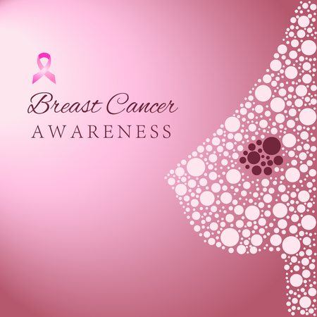 Silhouette of the female breast showing cancer formation, breast cancer awareness concept