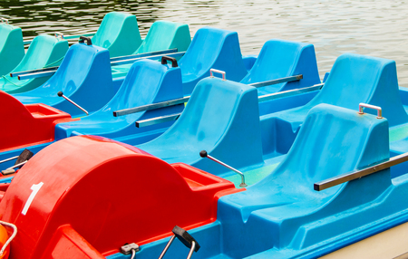 Water pedal boats by Trakai Castle - a popular tourist destination in Lithuania
