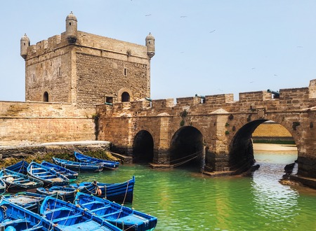Beautiful blue boats in Essaouira old harbor, Morocco