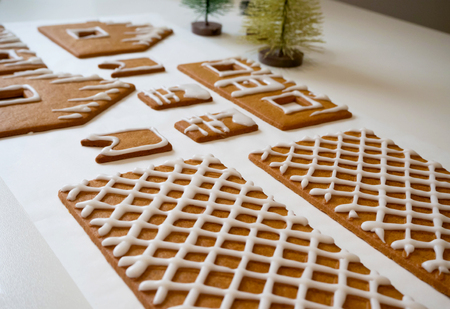 Making of gingerbread house for Christmas or new year