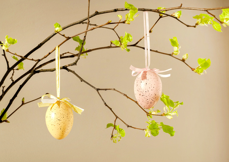 Colored eggs with fresh leaves on pink background. Easter, Spring holidays