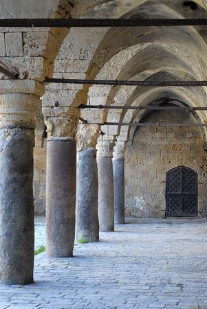 Colonnade at Khan al Umdan, Caravanserai in Acre, Israel