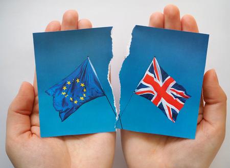 European Union and UK flags, Brexit EU concept