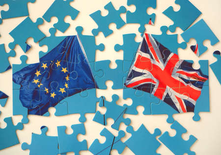 Puzzle with Great Britain and European Union flags. Brexit concept