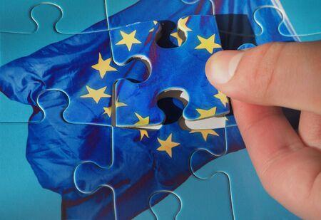 Puzzle with European Union flag. Brexit concept