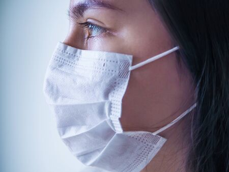 Pandemic Coronavirus. Close up of young woman with surgical mask on face against virus. 免版税图像