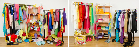Wardrobe before messy after tidy arranged by colors  Stockfoto