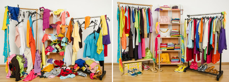 Wardrobe before messy after tidy  Stock Photo