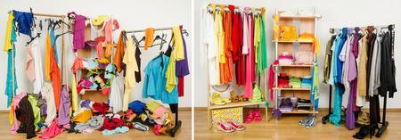 mess room: Armario antes desordenado despu�s de ordenado organizado por colores