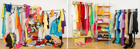 messy clothes: Wardrobe before messy after tidy arranged by colors  Stock Photo
