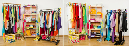 Wardrobe before nicely arranged randomly and after arranged by colors  photo