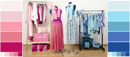 Wardrobe with blue and pink clothes, shoes and accessories with color samples  Dressing closet with all shades of pink and blue clothes arranged on hangers with outfit on two mannequins