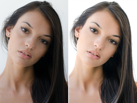 look after: Portrait of a beautiful brunette girl before and after retouching with photoshop. Aging versus young, acne beauty treatment. Isolated on white background. Edited photos being compared.
