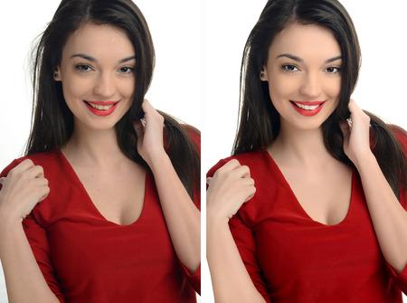 Belle jeune femme avec des lèvres rouges sexy sourire avant et après retouche avec photoshop. Vieillissement par rapport au traitement de beauté jeune, l'acné. Isolé sur fond blanc. Les photos modifiées comparés.