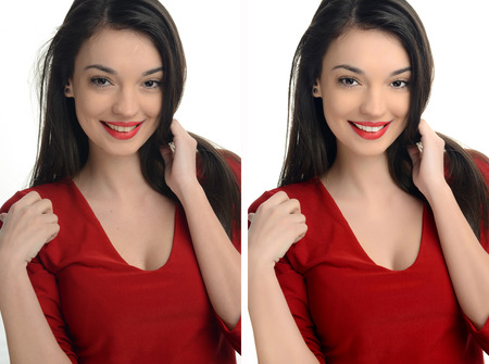Beautiful young woman with sexy red lips smiling before and after retouching with photoshop. Aging versus young, acne beauty treatment. Isolated on white background. Edited photos being compared. Stock Photo