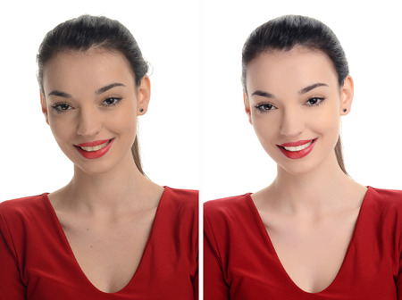 Portrait of a beautiful young woman with sexy red lips smiling before and after retouching with photoshop. Aging versus young, acne beauty treatment. Isolated on white background. Edited photos being compared.