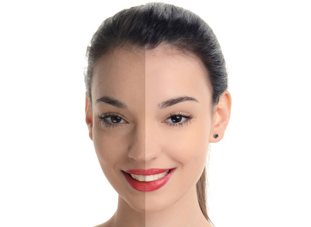 Beautiful young woman with sexy red lips smiling before and after retouching with photoshop. Aging versus young, acne beauty treatment. Isolated on white background. Stock Photo