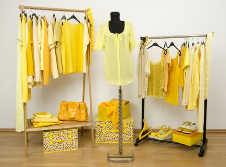 coordinate: Wardrobe full of all shades of yellow clothes, shoes and accessories.